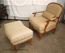 Ethan Allen country French oversized chair ottoman