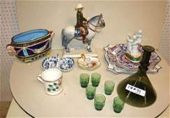 Green liquor set, Asian, blue/white, Italian items