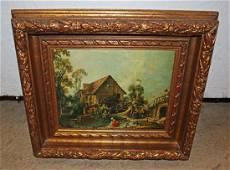 Oil on canvas in fancy guild frame