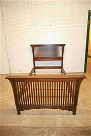 Stickley mission oak twin bed with rails and slats