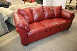 Like New Leather Style Red Decorator Loveseat