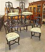 7pc Country FR dining room table & chairs