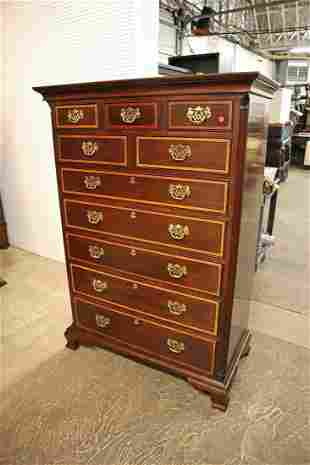 Stickley mahogany banded 10 drawer high chest