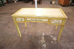 Baker paint decorated desk, 3 drawer