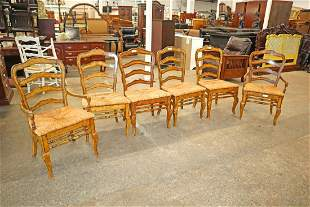 6 country French rush bottom ladder back chairs