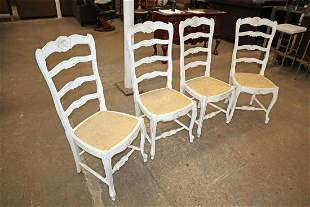 4 rush bottom country high ladder back chairs