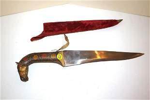 Asian horse head hand painted decorator dagger