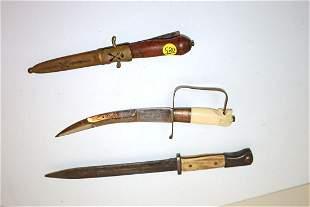 Group lot of 3, 2 Asian daggers, 1 bayonet