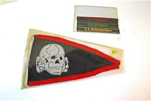 Group lot of 5, 2 German skull flags, 3 patches
