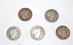 Group lot of 5 US silver barber half dollars