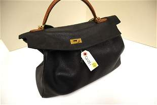 Marked Hermes leather hand bag