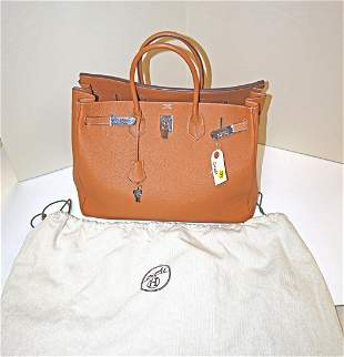 Marked Hermes leather hand bag with bag