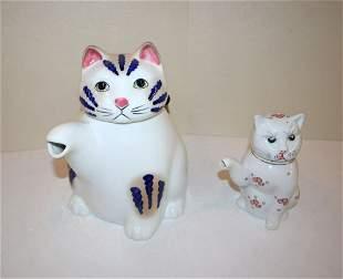 2pc lot of porcelain cat tea pots