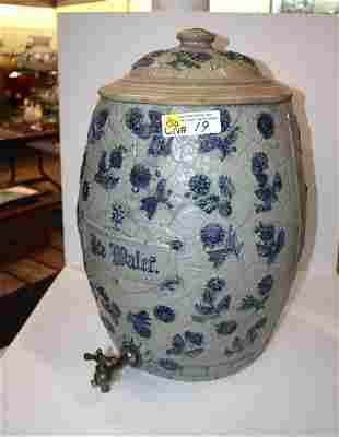 Rare antique 6 gal ice water crock with lid & spout