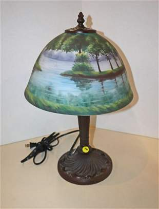 Reverse painted antique style table lamp