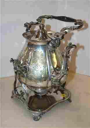 Semi ant. Silver-plate tea pot w/ warming tray