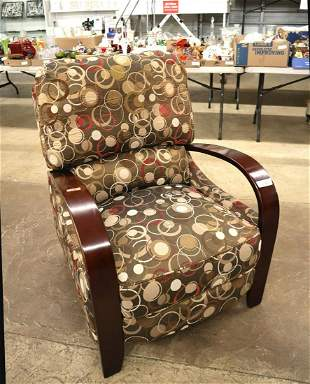 Upholstered mahogany frame reclining chair