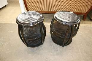 PR contemporary mahogany lamp tables