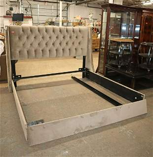 King size button tuft upholstered bed