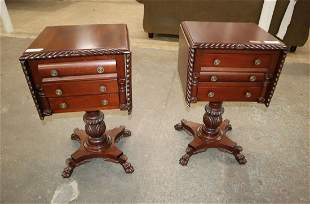 PR ant empire style mahog drop side lamp tables