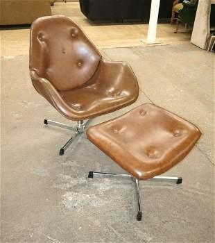 Vinatge MCM leather chair and ottoman