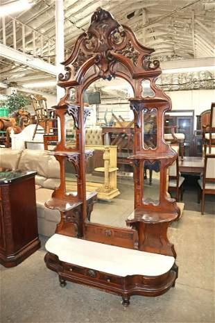 Antique Victorian walnut MT base hall mirror