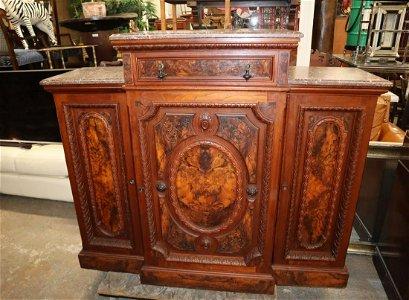 Antique Victorian marble top credenza
