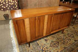 MCM walnut buffet with fitted interior drawers