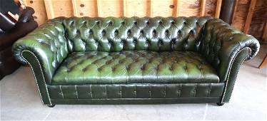 Green leather even arm Chesterfield style sofa