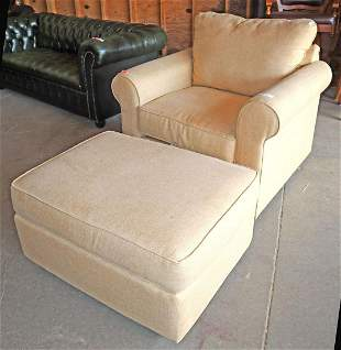 Upholstered club chair & ottoman