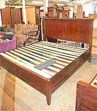 Cont. mahogany 6 drawer king size storage bed