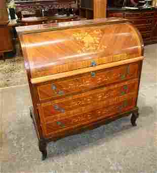 French style mahogany inlay roll top desk