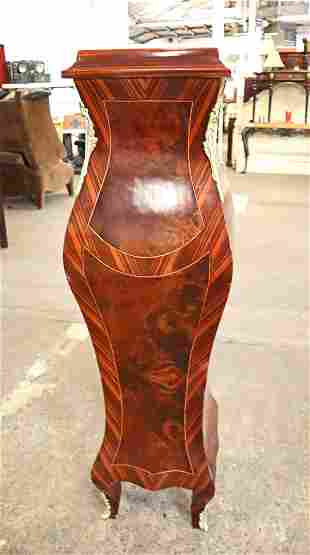 FR marble top inlay pedestal with applied bronze