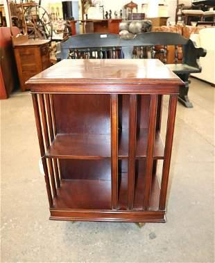 Mah inlay banded rotating bookcase