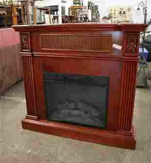 Contemporary mahog electric/gas fireplace