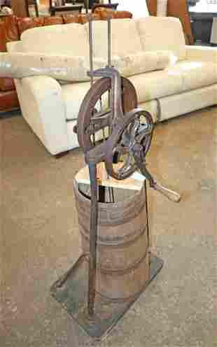 Antique oak barrel hand crank grape smasher