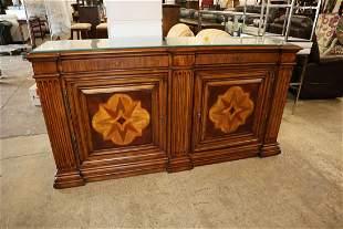 Ethan Allen 2 drawer 2 door glass top buffet