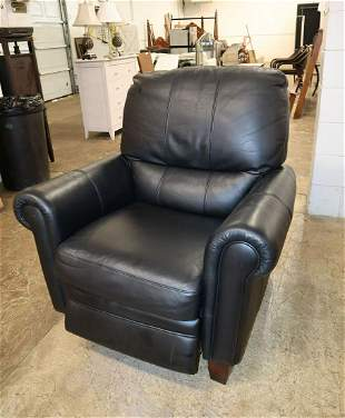Ethan Allen black leather manual recliner