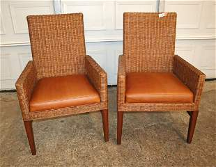 PR quality Ethan Allen whicker/leather chairs
