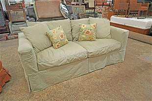 Quality down cushion sofa with green canvas uph