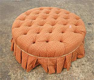 Ethan Allen button tuft and skirted ottoman