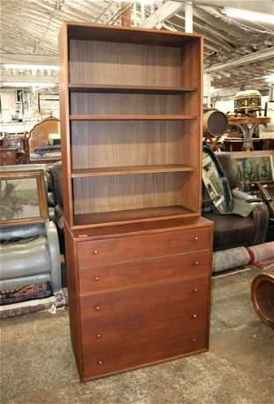 MCM Danish Walnut 5 drawer chest w/bookcase top