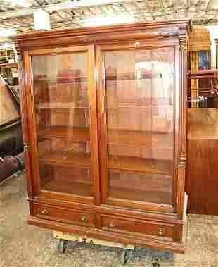 Antique Victorian mah 2 sliding door bookcase