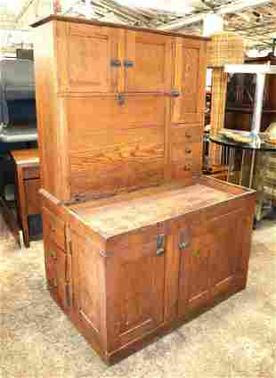 Rare Antique oak 2 piece dry sink with hutch