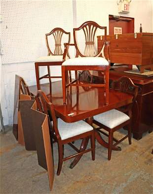 Vintage mahogany 7pc dining room table 6 chairs