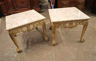 PR cont. fancy carved marble top lamp tables