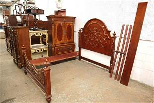Contemporary carved mahogany queen size bed