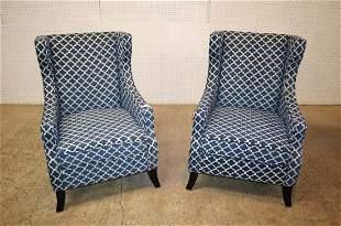 PR blue/white upholstered fireside chairs