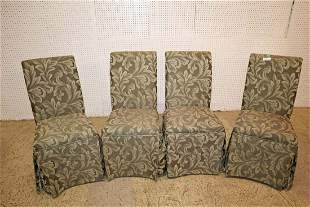 Set of 4 uphol & skirted dining room chairs
