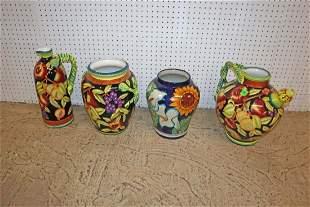 4 piece porcelain vases